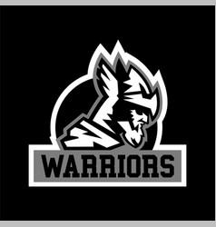 Warrior logo viking invader knight face in vector