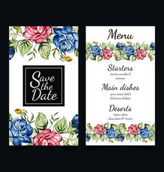 watercolor floral stationery set vector image