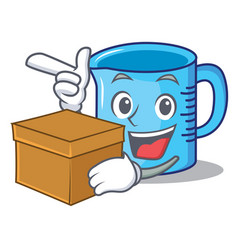 With box measuring cup character cartoon vector