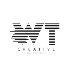 wt w t zebra letter logo design with black and vector image