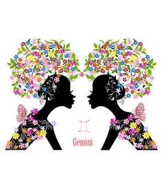 Zodiac sign gemini fashion girl vector image