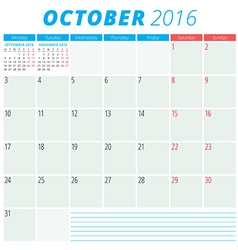Calendar 2016 flat design template October Week vector image vector image