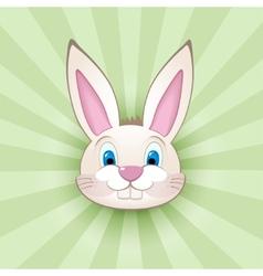 Cartoon bunny head on green vector image vector image