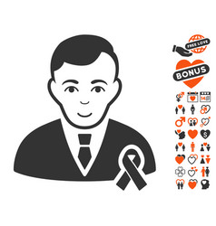 gentleman with mourning ribbon icon with lovely vector image