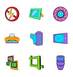 Photo equipment icons set cartoon style vector