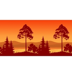 Seamless Landscape Trees on Bank of Mountain Lake vector image