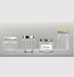 set of empty glass jars with lids in vector image vector image