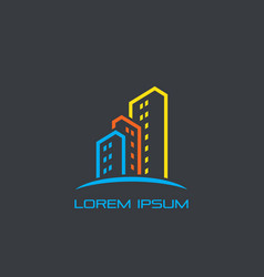 skyscraper colored business logo vector image vector image