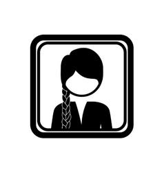 square border with silhouette half body woman with vector image vector image