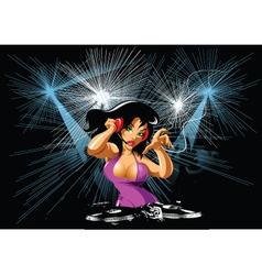 Dj party girl vector image