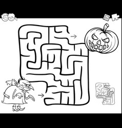 halloween maze activity for coloring vector image
