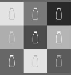 milk bottle sign grayscale version of vector image vector image