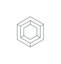Thin line hexagon symbol vector