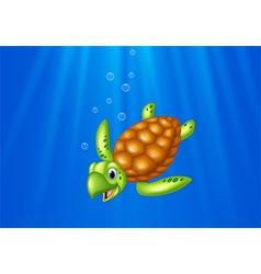 Cartoon sea turtle swimming in the ocean vector image