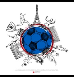 Drawing of soccer background vector image vector image