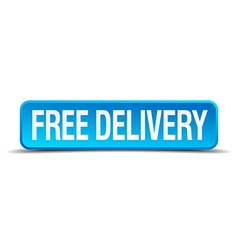 free delivery blue 3d realistic square isolated vector image
