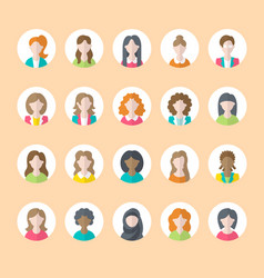 people flat icons business woman avatars symbols vector image