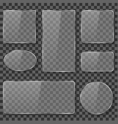 transparent glass plastic acrylic plates banners vector image