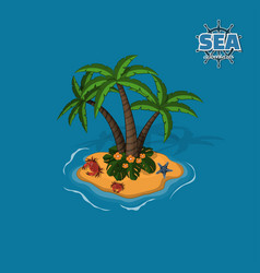 tropical island with palm trees crabs and sea sta vector image vector image