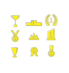 winner prizes and awards outline icons vector image