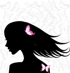 Woman profile with pink butterflies vector image vector image