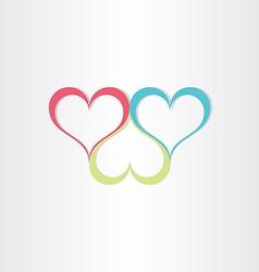 color hearts love symbol vector image vector image