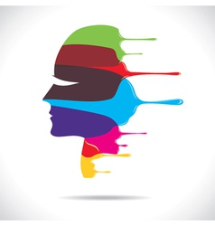 colorful painted beautiful women face vector image vector image