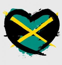Jamaica heart shape flag vector