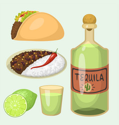 Mexican traditional food meal plates isolated vector