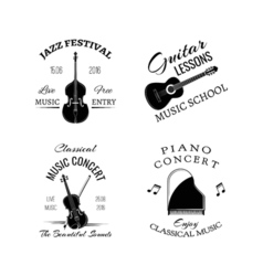 Music vintage retro label and badge Guitar Piano vector image
