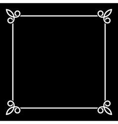 White Border Vintage Frame on Black Background vector image
