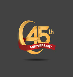 45 anniversary design logotype golden color vector