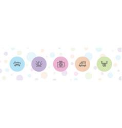 5 ambulance icons vector