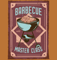 A grill and meat on it vector