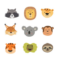 animal faces including vector image