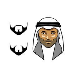 Arabian men head white vector
