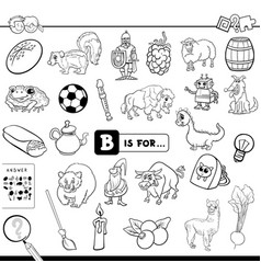 b is for educational task coloring book vector image