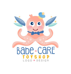 babe care toyshop logo design badge with cute vector image