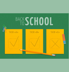 back to school three orange stripes paper vector image