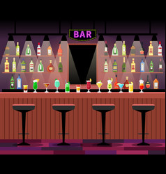 Bar counter with alcohol drinks vector