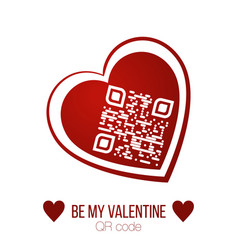 Be my valentine text qr code in red heart on vector