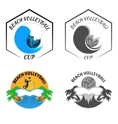 beach volleyball logo for team and cup vector image