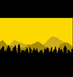 black silhouette of city and mountains vector image