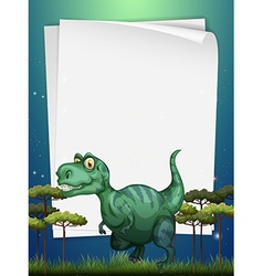 Border design with T-Rex in the field vector image
