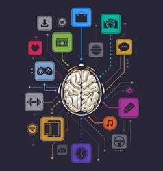 Brain activity infographics vector