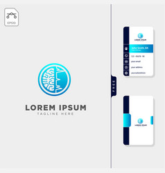 brain ct scan minimal logo template free business vector image