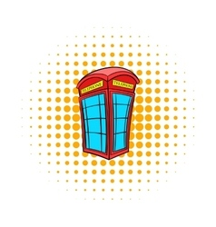 British red phone booth icon comics style vector