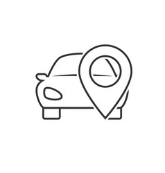 Car location line icon vector