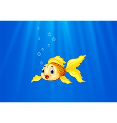 Cartoon goldfish swimming in the water vector image