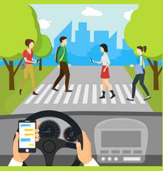 Cartoon using smartphone driving car card poster vector